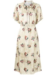 Golden Goose Deluxe Brand Floral Print Dress Nude And Neutrals