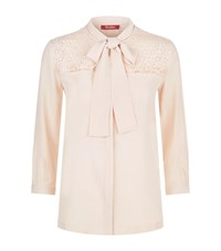 Max Mara Broderie Anglaise Silk Front Shirt Female Pink