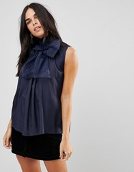 Traffic People High Neck Chiffon Top With Bow Detail Navy