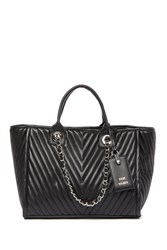 Steve Madden Alec Medium Chevron Quilted Tote Bag Black