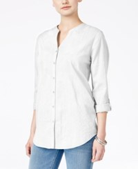 Jm Collection Embroidered Shirt Only At Macy's Bright White
