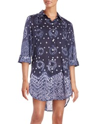 Amita Naithani Tie Dye Button Front Cover Up Blue