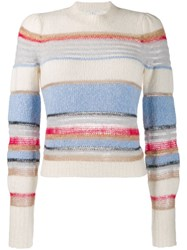 Veronica Beard Meredith Knitted Pullover Neutrals
