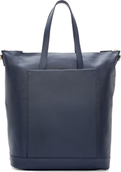 Pb 0110 Navy Blue Leather Large Tote
