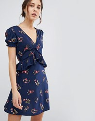 Influence Frill Detail Tea Dress With Puff Sleeve In Floral Print Navy