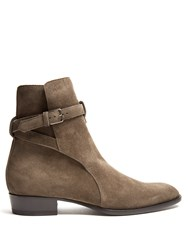 Saint Laurent Wyatt Jodphur Suede Ankle Boots Grey