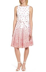 Anne Klein New York Scattered Dot Stretch Cotton Dress Optic White Tomato