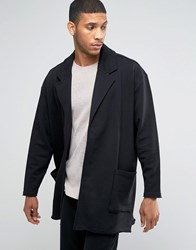 Asos Oversized Jersey Duster Jacket With Raw Hem Black