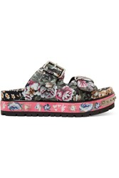 Alexander Mcqueen Floral Print Leather Sandals Pink