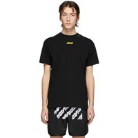 Off White Black And Yellow Disrupted Font T Shirt