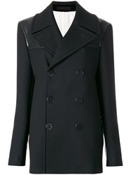 Alexander Mcqueen Double Breasted Peacoat Women Silk Cotton Leather Wool 50 Black