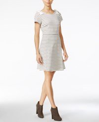 Maison Jules Striped Bow Shoulder Fit And Flare Dress Only At Macy's Egret Combo