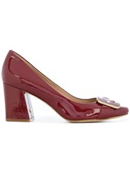 Tory Burch Block Heel Buckle Pumps Leather Patent Leather 9.5 Red
