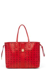 Mcm 'Large Shopper Project' Reversible Coated Canvas Shopper Red Ruby Red