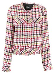 Karl Lagerfeld Fitted Houndstooth Boucle Jacket 60