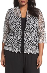 Alex Evenings Plus Size Women's Metallic Embroidered Twinset Black Silver