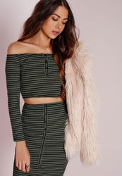 Missguided Stripe Button Down Long Sleeve Crop Top Green