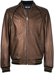 Just Cavalli Stripe Detail Bomber Jacket Brown