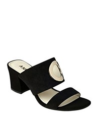 Anne Klein Naomi Suede Sandals Black