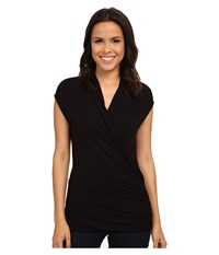 Adrianna Papell Solid V Neck Cap Sleeve Top Black Women's Sleeveless