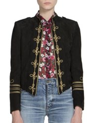 Saint Laurent Suede Officer Jacket Black Gold