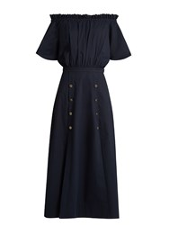 Saloni Dakota Off The Shoulder Midi Dress Navy