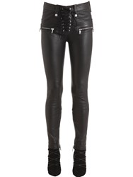 Unravel Skinny Lace Plonge Leather Pants Black