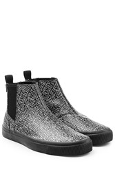 Kenzo Printed Leather Ankle Boots Black