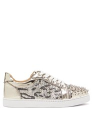 Christian Louboutin Vieira Spike Embellished Tweed Trainers Silver