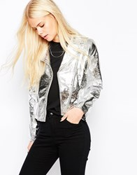 Religion Lead Real Leather Silver Jacket Silver
