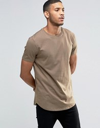 Asos Longline T Shirt With Curved Hem In Brown Coco Brown