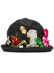 Dolce And Gabbana Embellished Raffia Hat Black