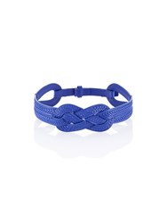 Shanghai Tang Eternity Knot Leather Belt Royal Blue