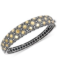 Effy Two Tone Geometric Pattern Bangle Bracelet In Sterling Silver And 18K Gold