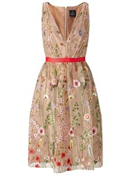 Adrianna Papell Embroidered Tulle Fit And Flare Prom Dress Nude Multi