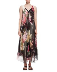 Lanvin Floral Print Double Layer Chiffon Gown Rose Rose Print