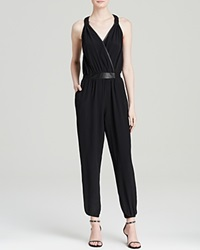 Charlie Jade Jumpsuit Faux Leather Trim Black