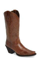Ariat Women's Round Up D Toe Wingtip Western Boot Sandstorm Leather