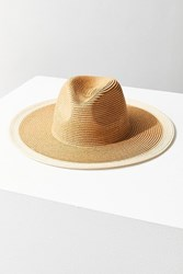 Urban Outfitters Colorblocked Straw Rancher Hat Tan