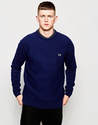 Fred Perry Crew Neck Jumper In Wool Service Blue Serviceblu