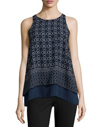 Max Studio Printed Chiffon Illusion Tank Navy