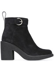 Jil Sander Navy Side Zip Ankle Boots Blue