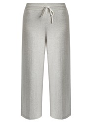 Vince Wide Leg Cropped Cotton Jersey Track Pants Ivory