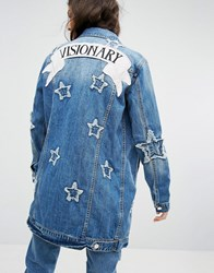 Mango Denim Jacket With Star Embroidery Blue