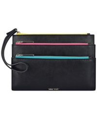 Nine West Table Treasures Triple Zip Wristlet Black