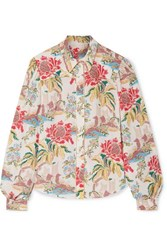 Peter Pilotto Printed Crepe Blouse Cream