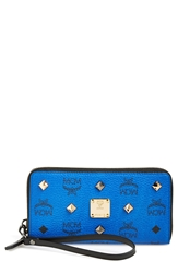 Mcm Studded Zip Around Wristlet Mazarine Blue