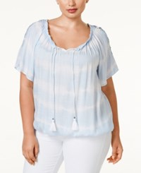 Ny Collection Plus Size Crochet Trim Peasant Top Sky Lightspeed