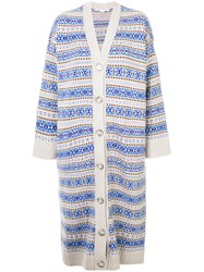 Stella Mccartney Stripe Patterned Longline Cardigan Virgin Wool Nude Neutrals
