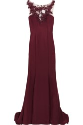 Mikael Aghal Embellished Satin Twill Gown Red